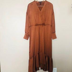 BCBG Satin Copper Long Sleeve Midi Dress Size M